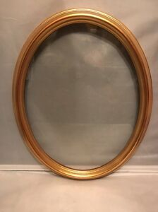 Vintage Gold Gild Wood Elegant Oval Picture Frame With Glass 16 X 13