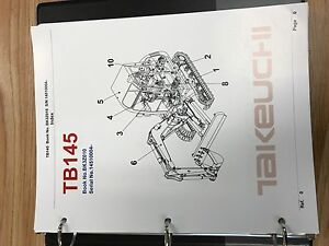 Takeuchi Tb145 Parts Manual S n 14510004 And Up Free Priority Shipping