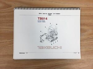 Takeuchi Tb014 Parts Manual S n 11400003 And Up Free Priority Shipping