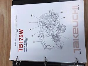Takeuchi Tb175w Parts Manual S n 17520003 Free Priority Shipping