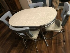 True Vintage Table Chairs 1950s Chrome Formica Rare Find Blue Grey