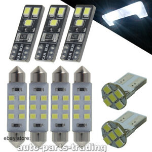 8x White Led Dome Map License Plate Light Reading Bulb Interior Kit Package