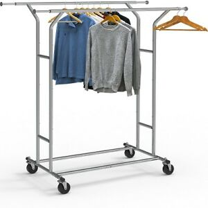 Commercial Garment Rack Clothes Clothing Double Duty Heavy Rail Rolling Single