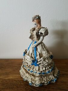 Heirlooms Of Tomorrow Porcelain Dresden Lace Figurine Statue Victorian Flowers