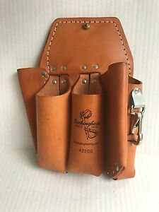 Buckingham 42266 Double Back Holster Lineman Arborist Leather Tool Pouch New
