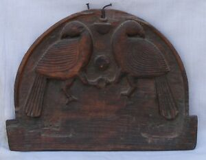 Indian Old Antique Hand Carved Wooden Beautiful Birds Penal Collectible