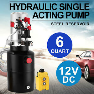 6 Quart 12v Dc Hydraulic Single Acting Pump Steel Reservoir Fast Delivery