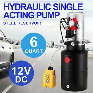 6 Quart 12v Dc Hydraulic Single Acting Pump Steel Reservoir Strong Packing