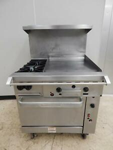 Vulcan 36 2 burner 24 Griddle Gas Range Convection Oven 36c 2b24gtn