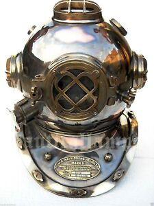 Antique U S Navy Brass Divers Diving Helmet Mark V Full Size Deep Sea Scuba Gif