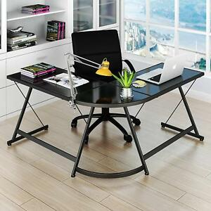 Computer Desk L shaped Table Pc Study Home Office Corner Desk Workstation Black