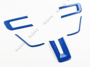 Blue For Ford Mustang 15 16 Steering Wheel Button Decor Cover Frame Sticker Abs
