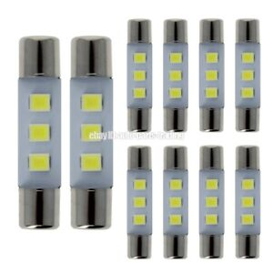 10x White 6641 6612f 6615f 6614 Fuse Type Led Sun Visor Vanity Mirror Light Bulb