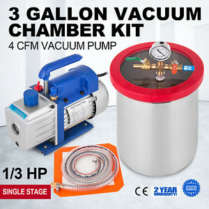 3 Gallon Vacuum Chamber 4 Cfm Deep Vane Pump Degas Single Stage Vacuum Pump