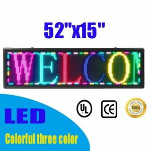 Outdoor 52 X 15 Full Color Programmable Scrolling Open Message Board Open Usa