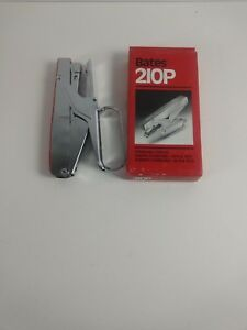 Vintage Bates Stapler 210p Plier Stapler Red chrome New In Open Box