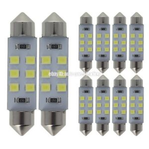 10x White 42mm 41mm 578 212 2 Car Festoon Led Interior Roof Dome Light Bulb