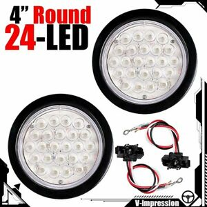 Pair 4 Inch White 24 Led Round Reverse Backup Tail Trailer Light Kit Grommet