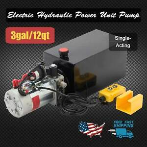 12 Quart Single Acting Hydraulic Pump Dump Trailer Power Unit Dump Truck Dc 12v
