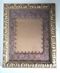 Vintage Gesso Wooden Picture Frame W Paisley Beaded Fabric Border Glass Rare