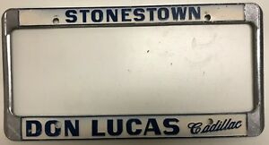 Vintage License Plate Metal Frame Don Lucas Cadillac Stonestown S F California