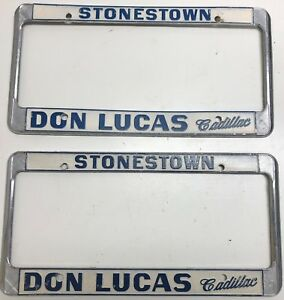 Vintage License Plate Metal Frames Don Lucas Cadillac Stonestown S f Ca