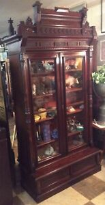 Antique Victorian Aesthetic Movement Burl Walnut Carved Bookcase