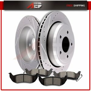 For Ford Crown Vic Mercury Grand Rear Brake Rotors Ceramic Pads Drilled Slotted