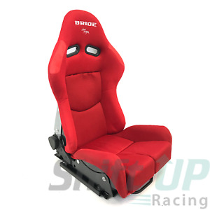 Pair Of Bride Gias V1 Red Plain Low Max Reclining Mechanism Racing Seats