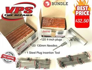 Professional Tire Repair Kit 120 Vps Plugs 20 Replacement Needless Tool