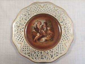 Schumann Bavaria Cabinet Plate Melon Eaters Reticulated Gold Trim 10 1945 49