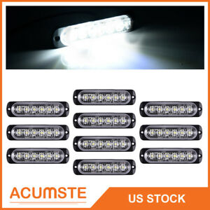 10x White Car 6 Led Emergency Strobe Light Kit Bar Marker Flash Warning Lamp