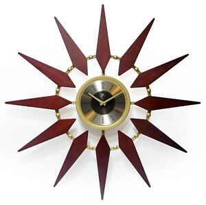 Mid Century Modern Style Gold Walnut Sunburst Wall Clock