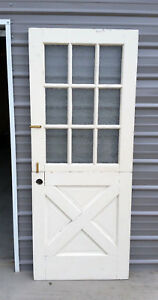 Vintage Dutch Door 9 Pannel Rolled Plate Glass 75 3 16 Tall By 32 Wide