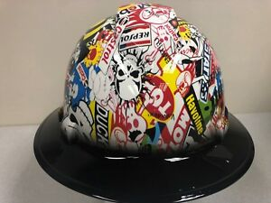 New Full Brim Hard Hat Custom Hydro Dipped Racing Sticker Bomb