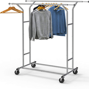 Simplehouseware Commercial Grade Double Rail Clothing Garment Rack With 4 inch