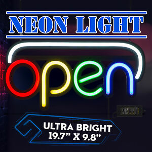 Horizontal Neon Open Sign Light 20x10 Inch 25w Dormitory Rooms Business Bar