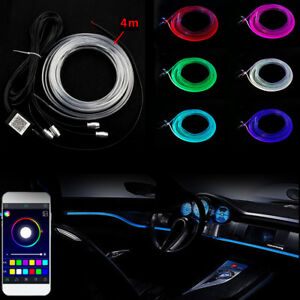 4m Neon Glow El Wire Led Strip Light Rope Tube Car Interior Party Dance Flexible