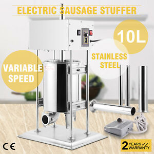 10l Electric Meat Maker Filler Sausage Stuffer Stainless Steel Updated