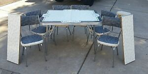 Vintage Formica Table And 6 Chairs Set Grey Black White W 2 Leaves