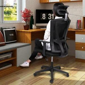 360 Degree Swivel Rotation Padded Mesh Office Chair Thick Seat Dual Wheel Caster
