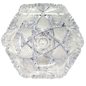 American Brilliant Period Cut Glass Bowl Signed J Hoare
