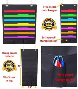 Wall Hanging 7 Slot Fabric File Organizer With Pocket And Hanger Black