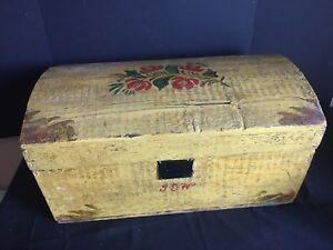 Antique Tole Painted Dome Top Wooden Chest Trunk
