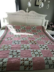 Patchwork Quilt Civil War Era 1800 Handmade Hand Quilting Antique Vintage