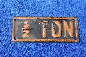 Vintage 1 2 Ton Truck License Plate Topper Accessory Pickup Ford Gm Ram Dodge