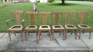 Set Of 6 Solid Oak Dining Chairs Ready For Finish And Seats Stripped