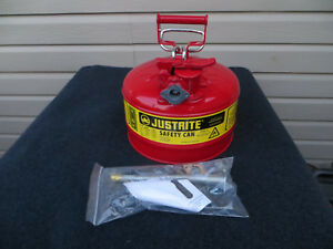 Justrite Type Ii Safety Can 2 1 2 Gallon With Metal Hose Spout New Safety Red