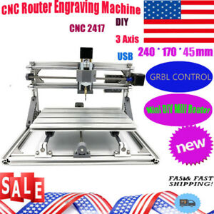 3 Axis Cnc 2417 Mill Router Kit Usb Desktop Metal Engraver Pcb Milling Machine