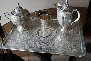 Beautiful Antique Persian Solid Silver Tea Set